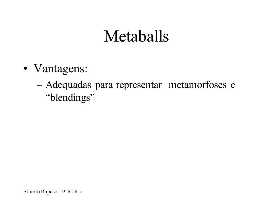 Metaballs Vantagens: Adequadas para representar metamorfoses e blendings Alberto Raposo – PUC-Rio.