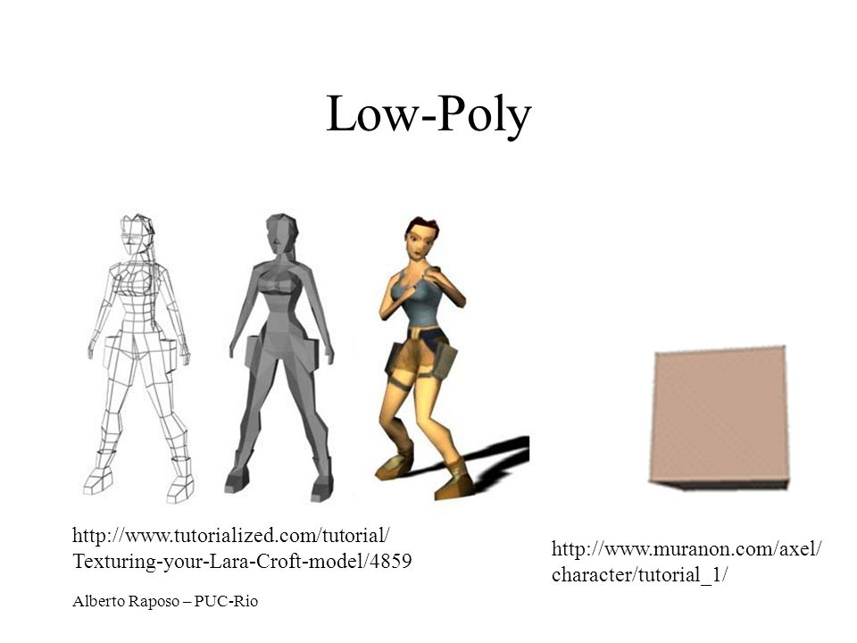 Low-Poly http://www.tutorialized.com/tutorial/ Texturing-your-Lara-Croft-model/4859. http://www.muranon.com/axel/ character/tutorial_1/