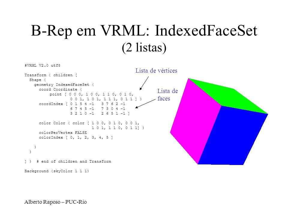B-Rep em VRML: IndexedFaceSet (2 listas)