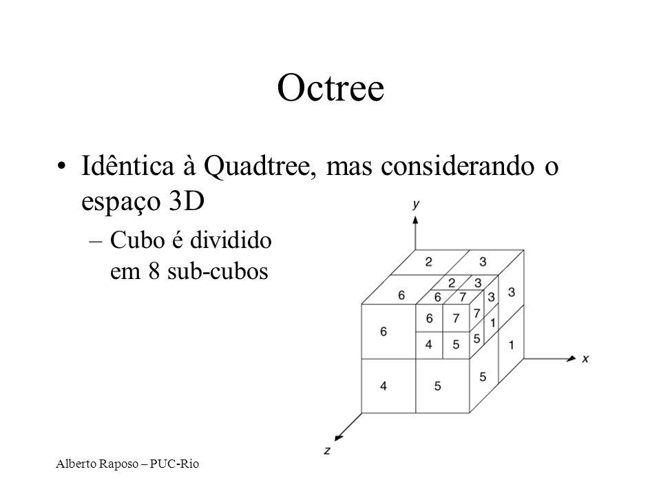 Octree Idêntica à Quadtree, mas considerando o espaço 3D