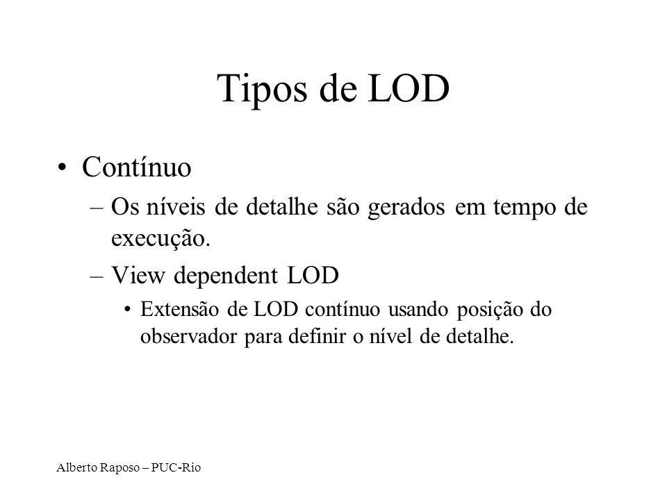 Tipos de LOD Contínuo. Os níveis de detalhe são gerados em tempo de execução. View dependent LOD.