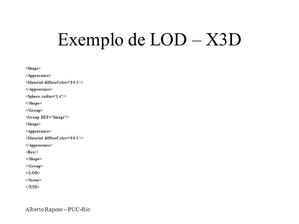 Exemplo de LOD – X3D Alberto Raposo – PUC-Rio <Shape>