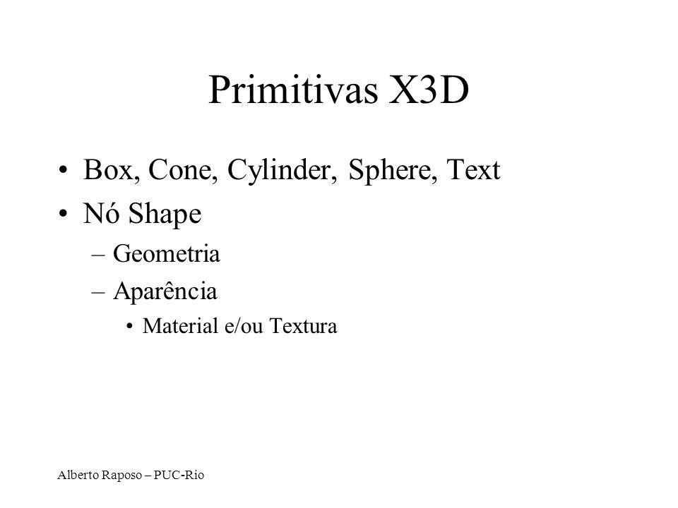 Primitivas X3D Box, Cone, Cylinder, Sphere, Text Nó Shape Geometria