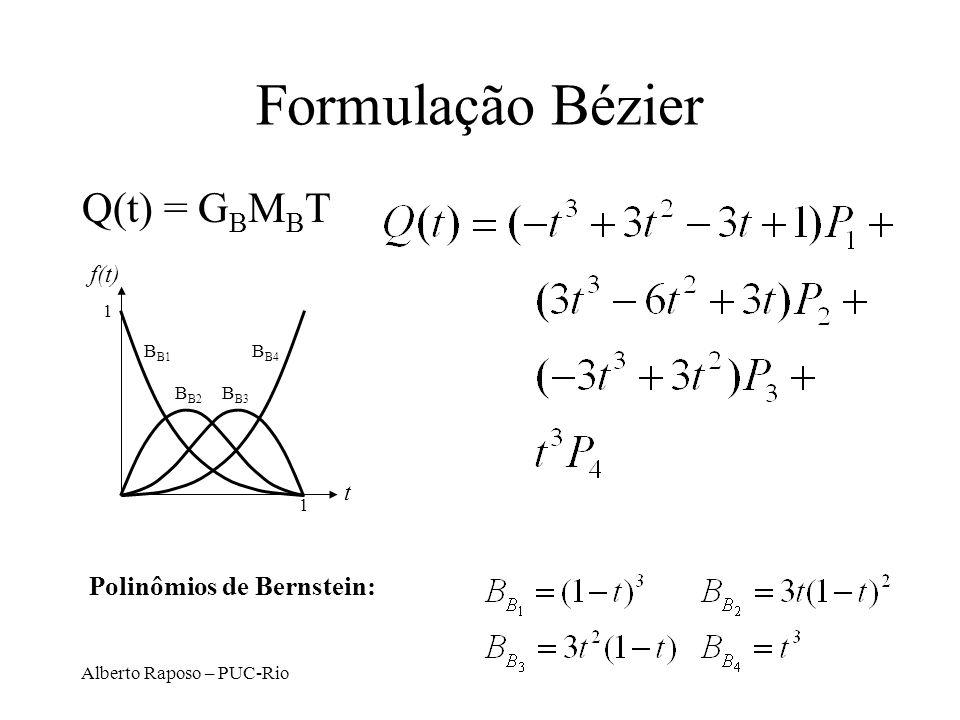 Formulação Bézier Q(t) = GBMBT Polinômios de Bernstein: f(t) t 1 BB1