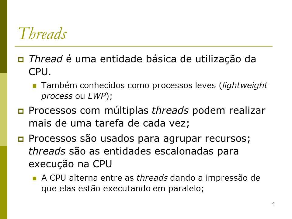 Threads Thread é uma entidade básica de utilização da CPU.