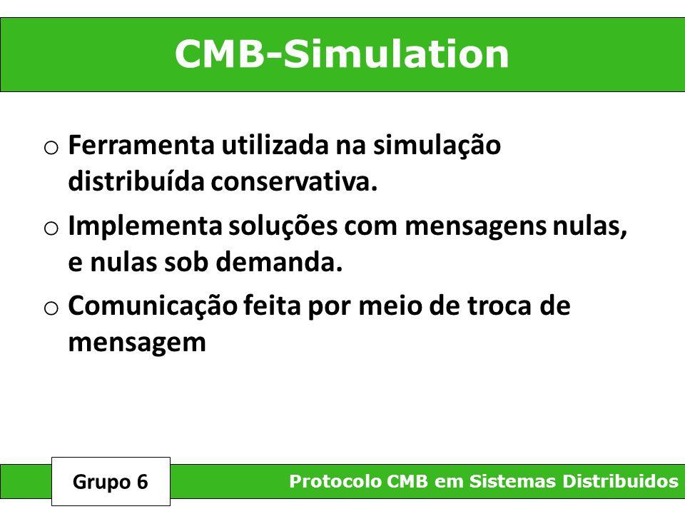 CMB-Simulation Ferramenta utilizada na simulação distribuída conservativa. Implementa soluções com mensagens nulas, e nulas sob demanda.