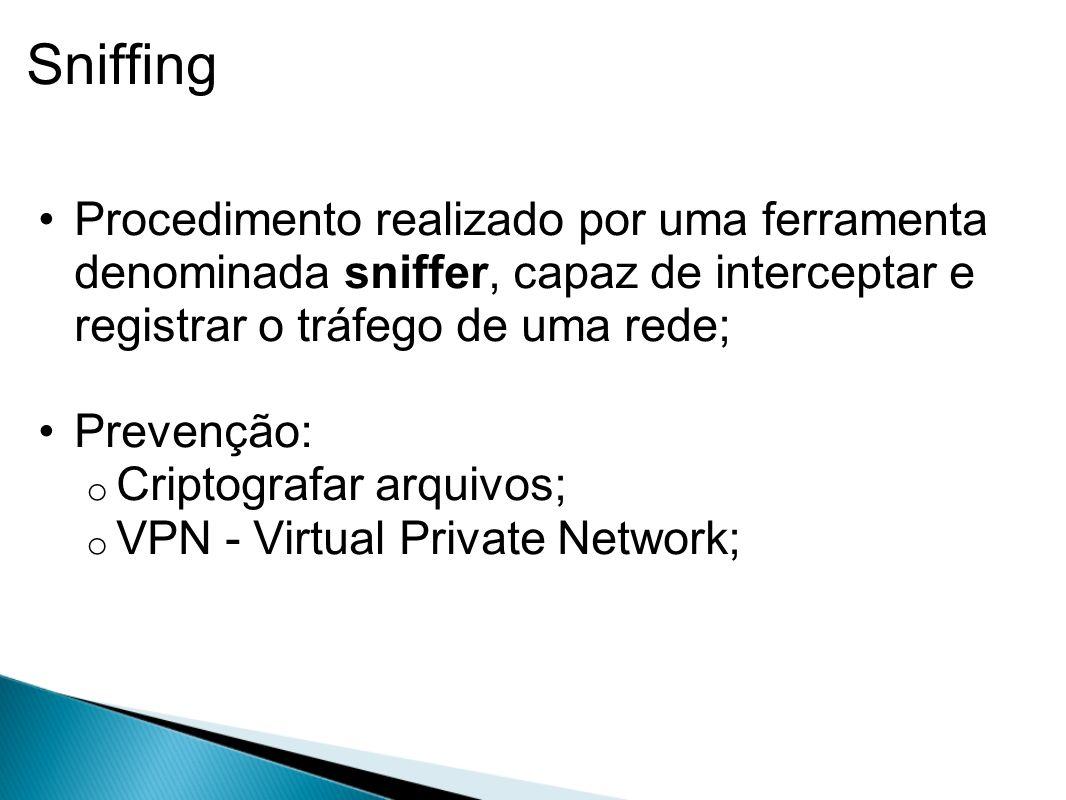 Sniffing Procedimento realizado por uma ferramenta denominada sniffer, capaz de interceptar e registrar o tráfego de uma rede;