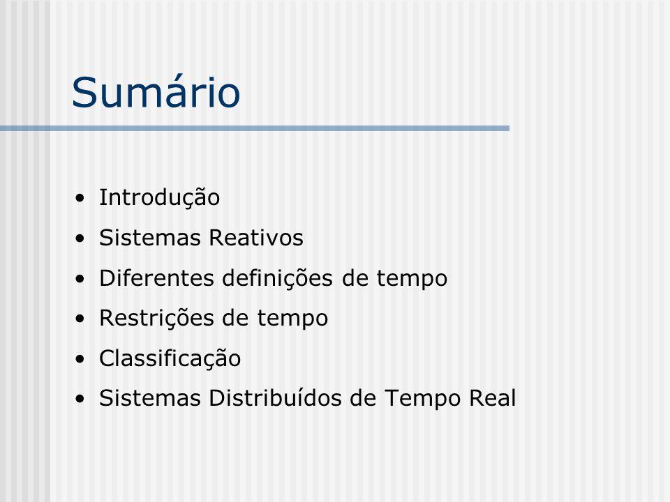 Sumário Introdução Sistemas Reativos Diferentes definições de tempo