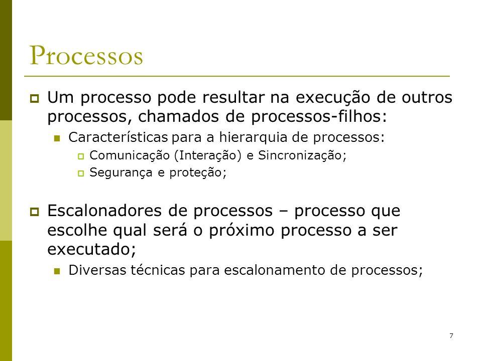 Processos Um processo pode resultar na execução de outros processos, chamados de processos-filhos: Características para a hierarquia de processos: