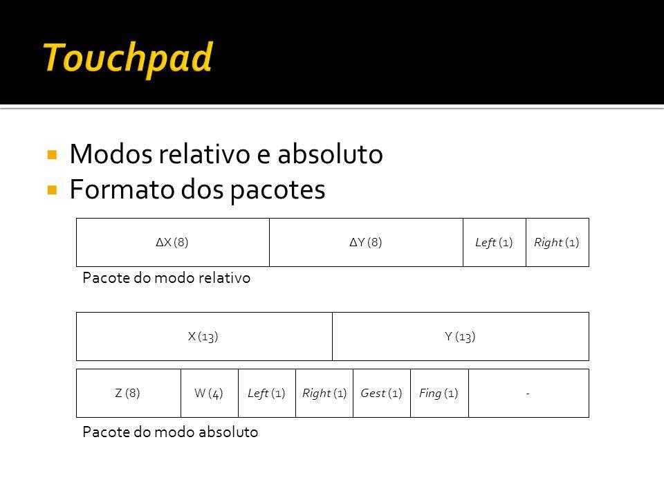 Touchpad Modos relativo e absoluto Formato dos pacotes