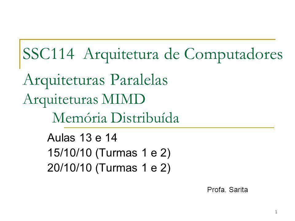 SSC114 Arquitetura de Computadores Arquiteturas Paralelas Arquiteturas MIMD Memória Distribuída