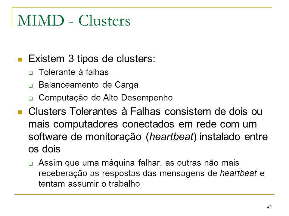 MIMD - Clusters Existem 3 tipos de clusters: