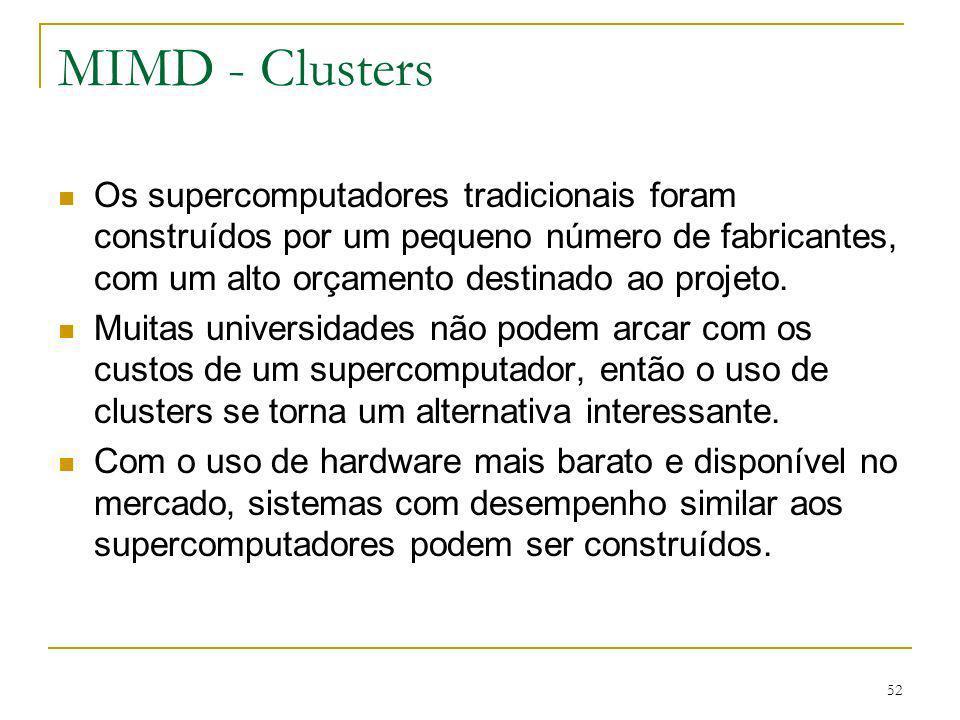 MIMD - Clusters Os supercomputadores tradicionais foram construídos por um pequeno número de fabricantes, com um alto orçamento destinado ao projeto.