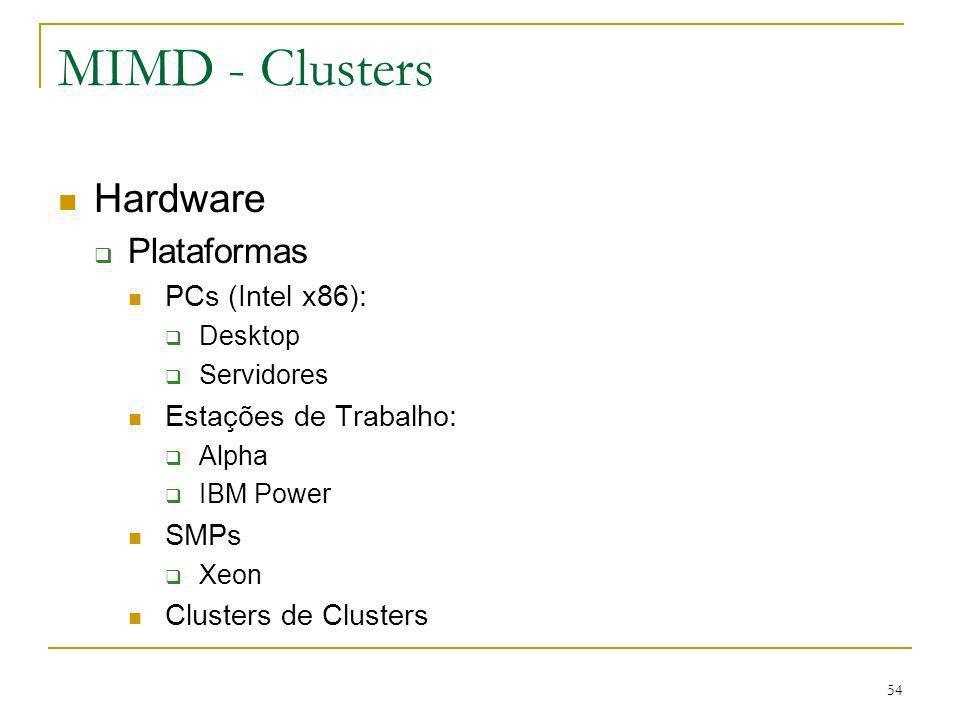 MIMD - Clusters Hardware Plataformas PCs (Intel x86):
