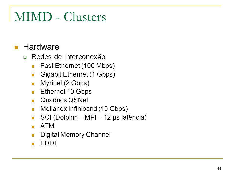 MIMD - Clusters Hardware Redes de Interconexão