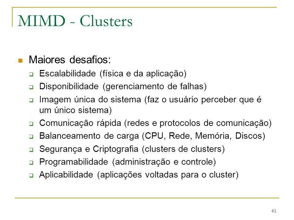 MIMD - Clusters Maiores desafios: