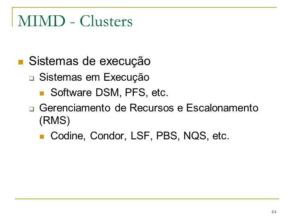 MIMD - Clusters Sistemas de execução Sistemas em Execução