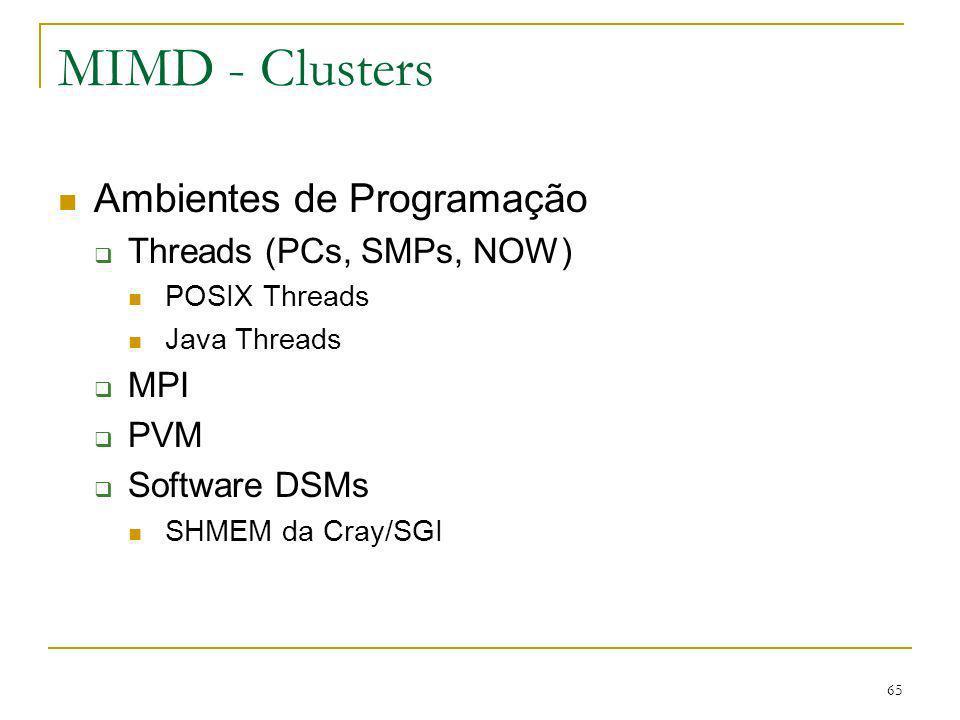 MIMD - Clusters Ambientes de Programação Threads (PCs, SMPs, NOW) MPI