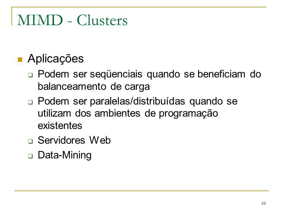 MIMD - Clusters Aplicações