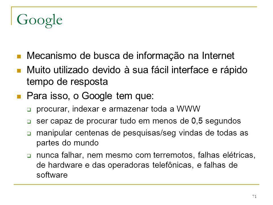 Google Mecanismo de busca de informação na Internet