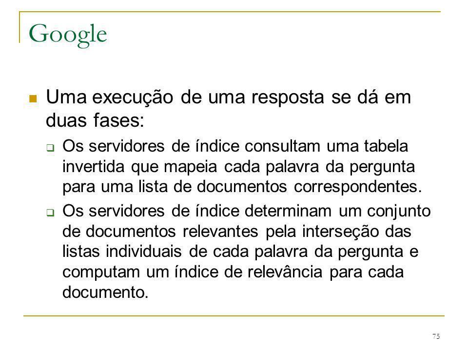 Google Uma execução de uma resposta se dá em duas fases: