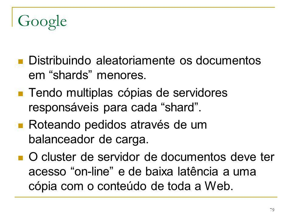 Google Distribuindo aleatoriamente os documentos em shards menores.
