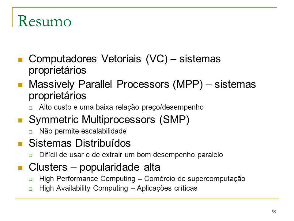 Resumo Computadores Vetoriais (VC) – sistemas proprietários