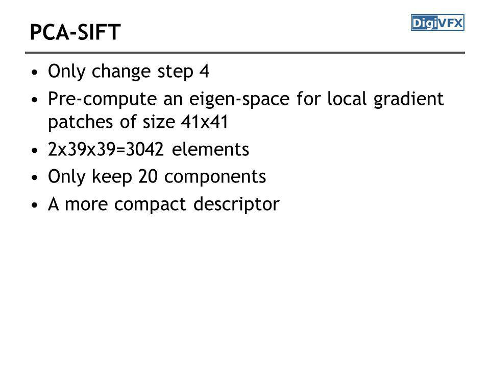 PCA-SIFT Only change step 4