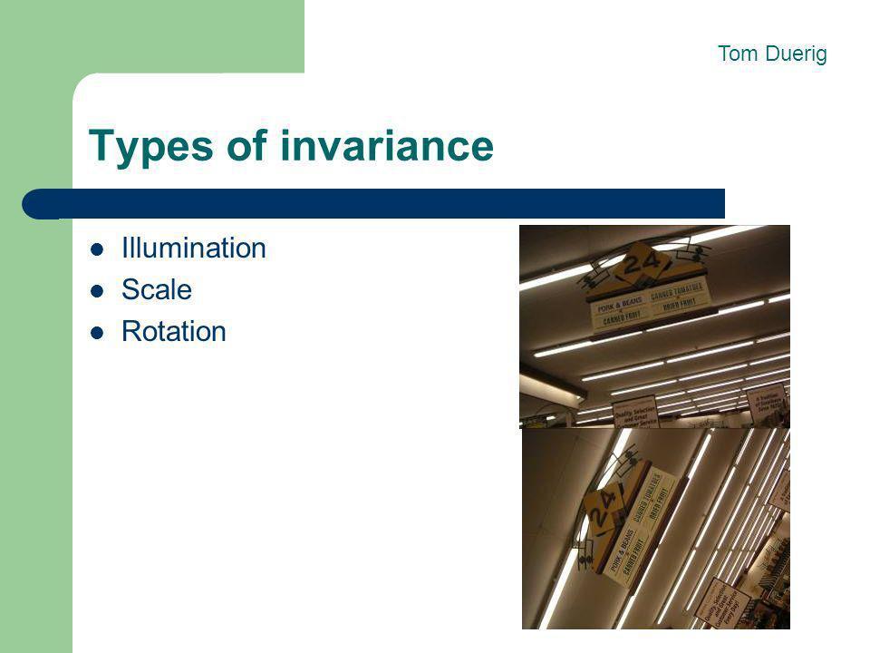 Tom Duerig Types of invariance Illumination Scale Rotation