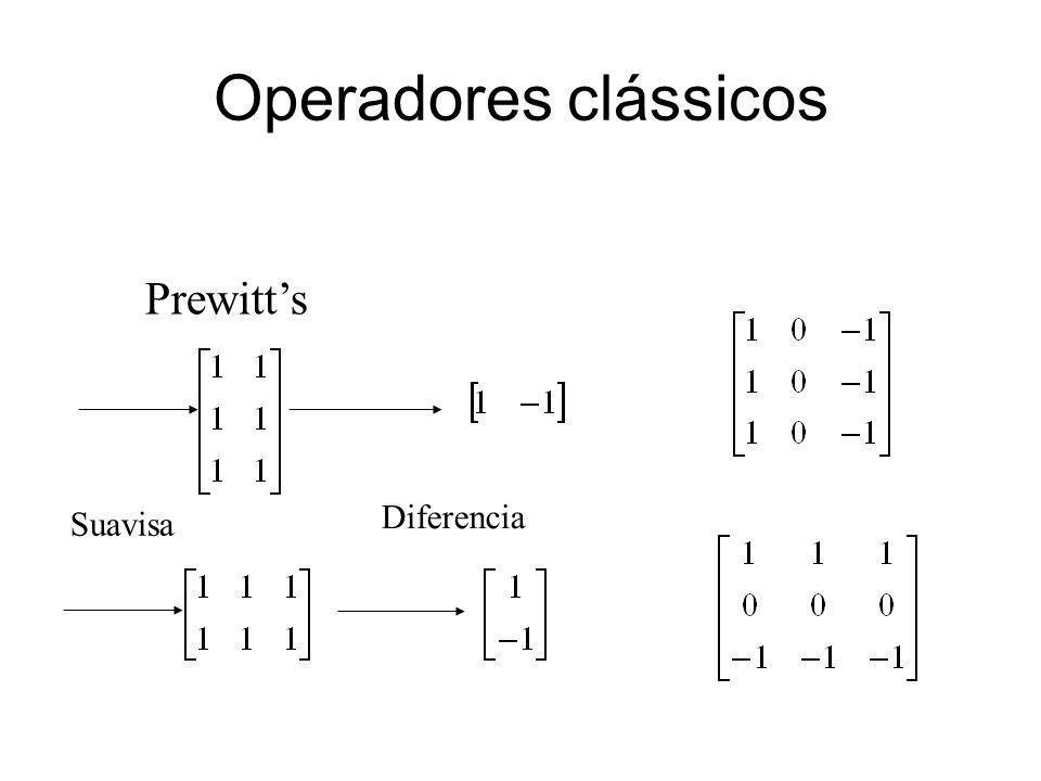 Operadores clássicos Prewitt's Diferencia Suavisa 38
