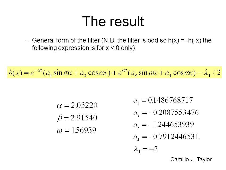 The result General form of the filter (N.B. the filter is odd so h(x) = -h(-x) the following expression is for x < 0 only)