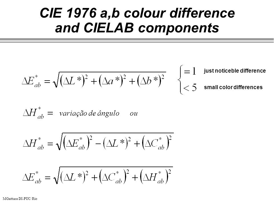 CIE 1976 a,b colour difference and CIELAB components