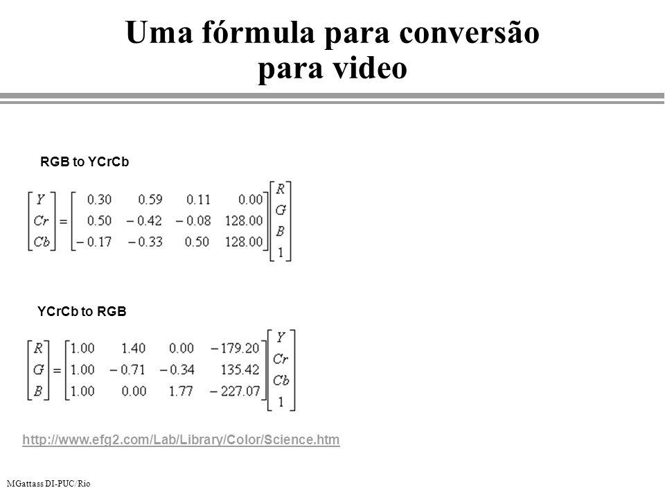 Uma fórmula para conversão para video