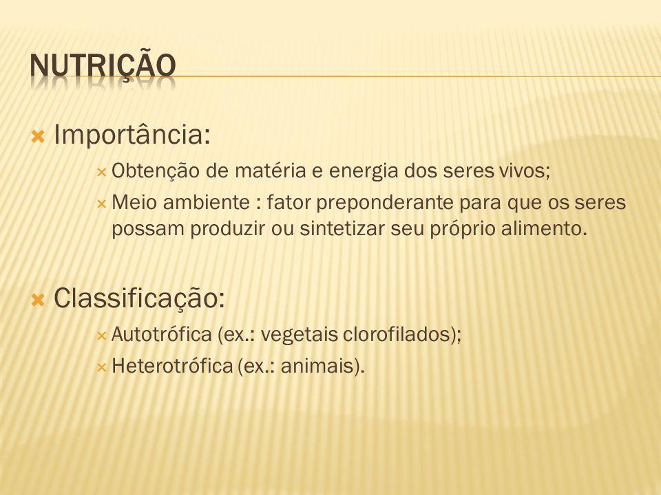 nutrição Importância: Classificação: