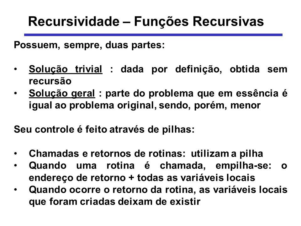 Recursividade – Funções Recursivas