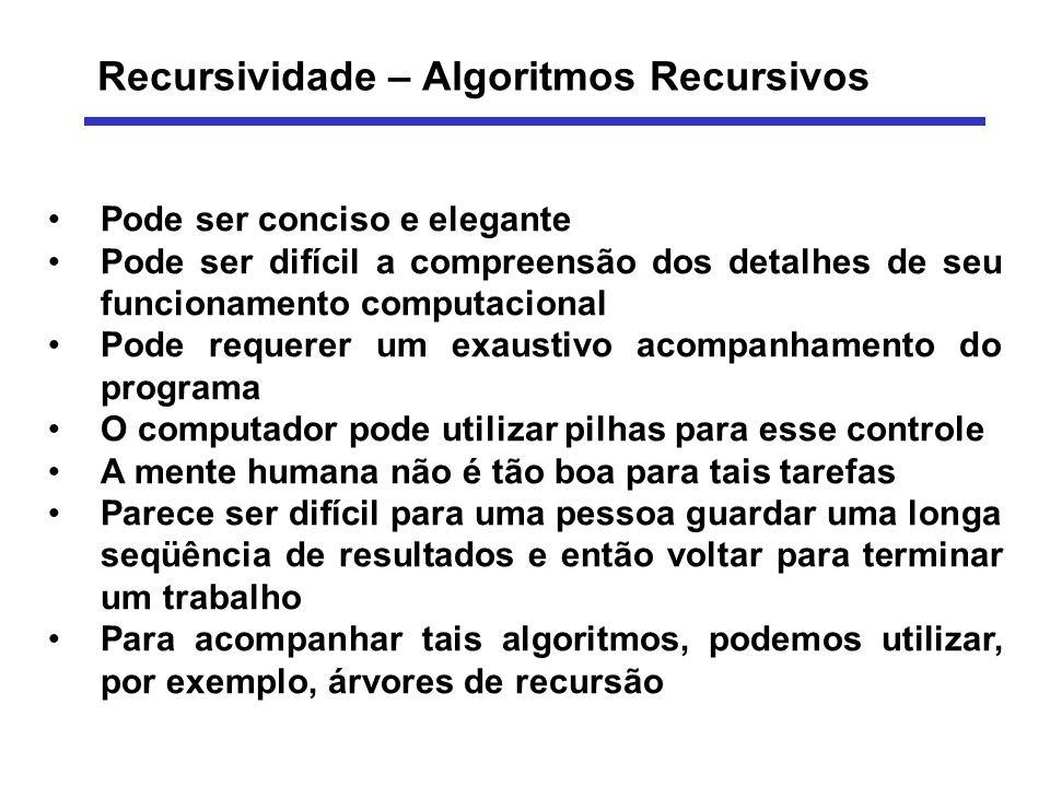 Recursividade – Algoritmos Recursivos