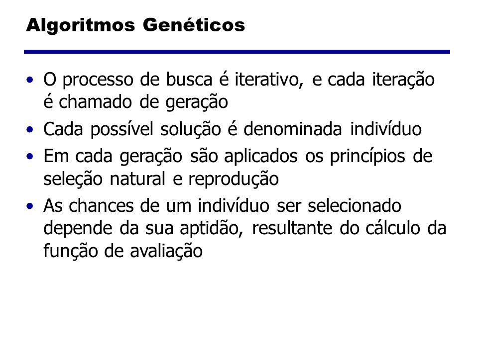 Algoritmos Genéticos O processo de busca é iterativo, e cada iteração é chamado de geração. Cada possível solução é denominada indivíduo.