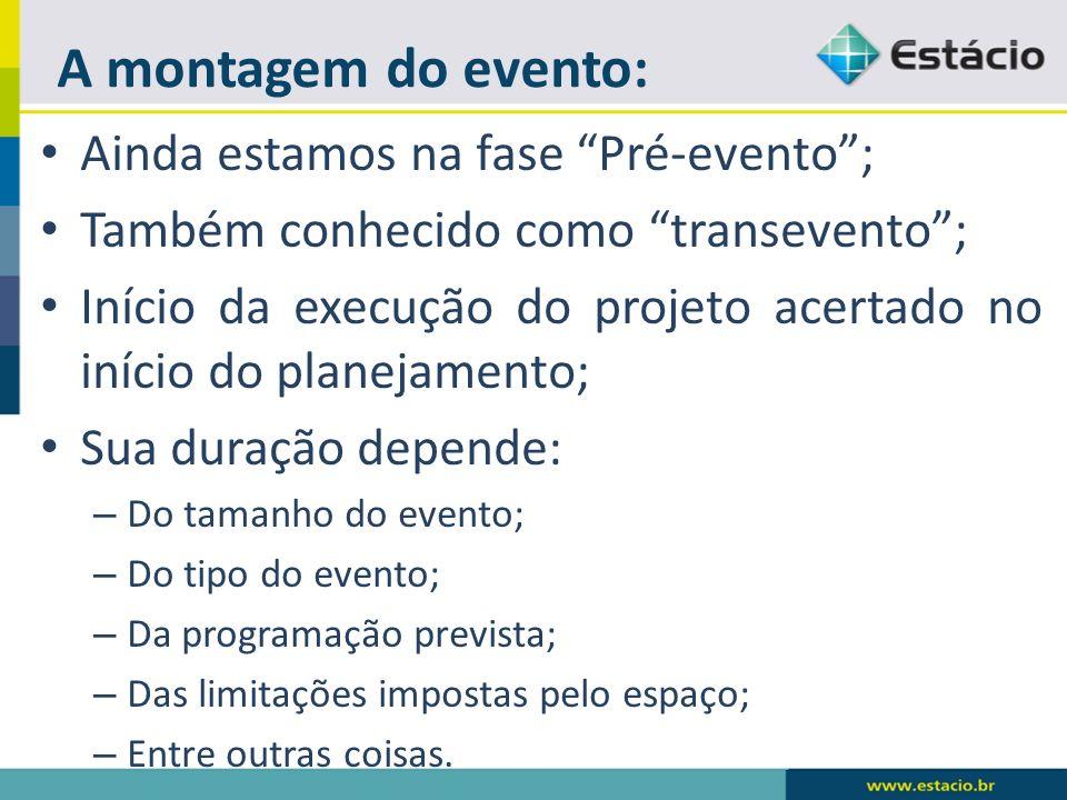 A montagem do evento: Ainda estamos na fase Pré-evento ;