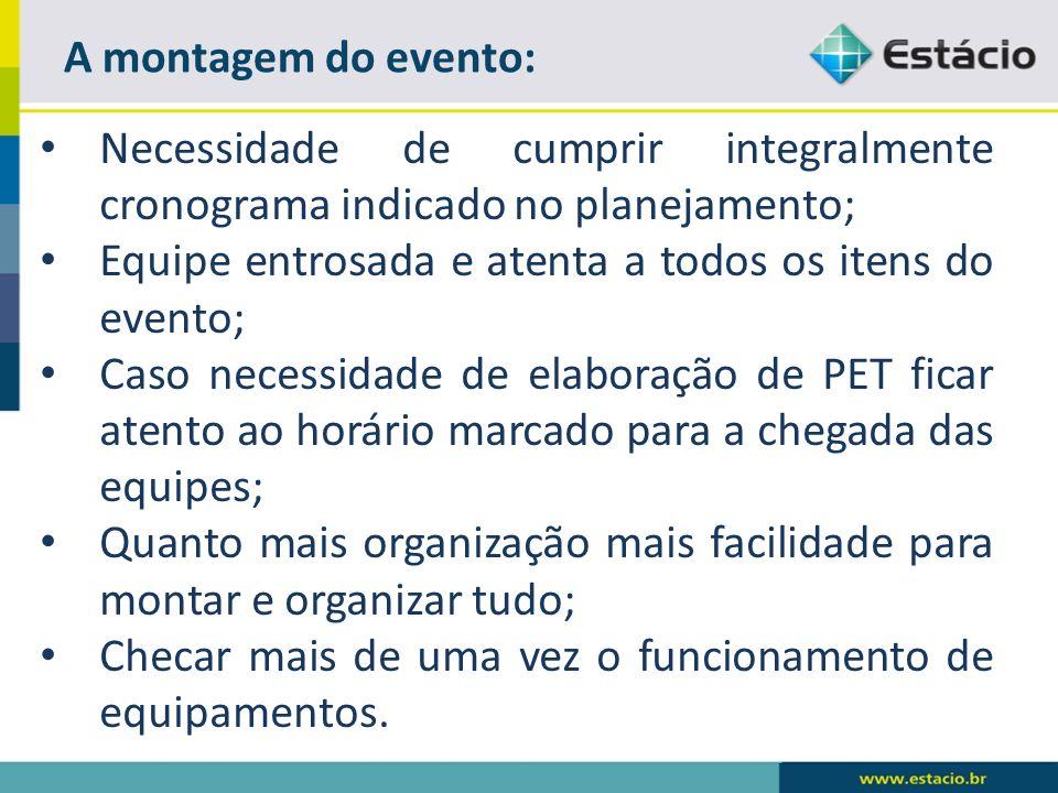 A montagem do evento:Necessidade de cumprir integralmente cronograma indicado no planejamento; Equipe entrosada e atenta a todos os itens do evento;