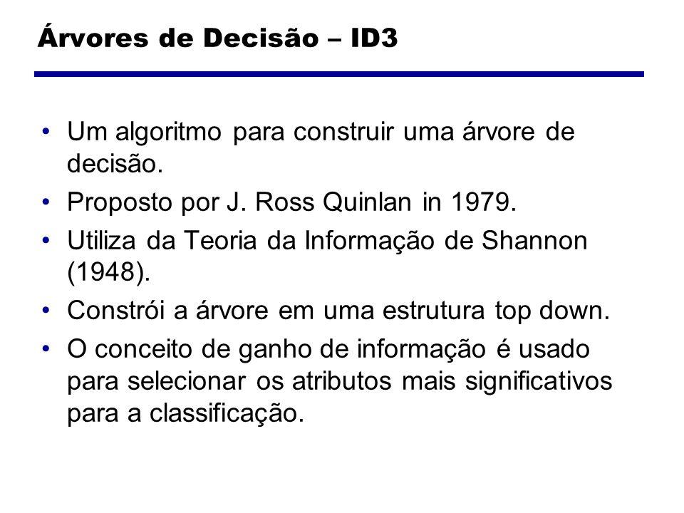 Árvores de Decisão – ID3 Um algoritmo para construir uma árvore de decisão. Proposto por J. Ross Quinlan in 1979.
