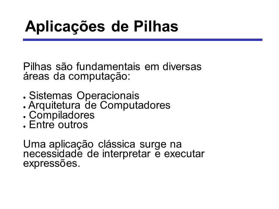 Aplicações de Pilhas Pilhas são fundamentais em diversas áreas da computação: Sistemas Operacionais.