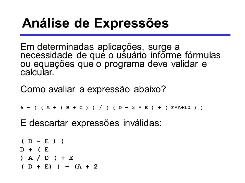 Análise de Expressões