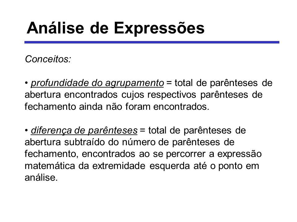 Análise de Expressões Conceitos: