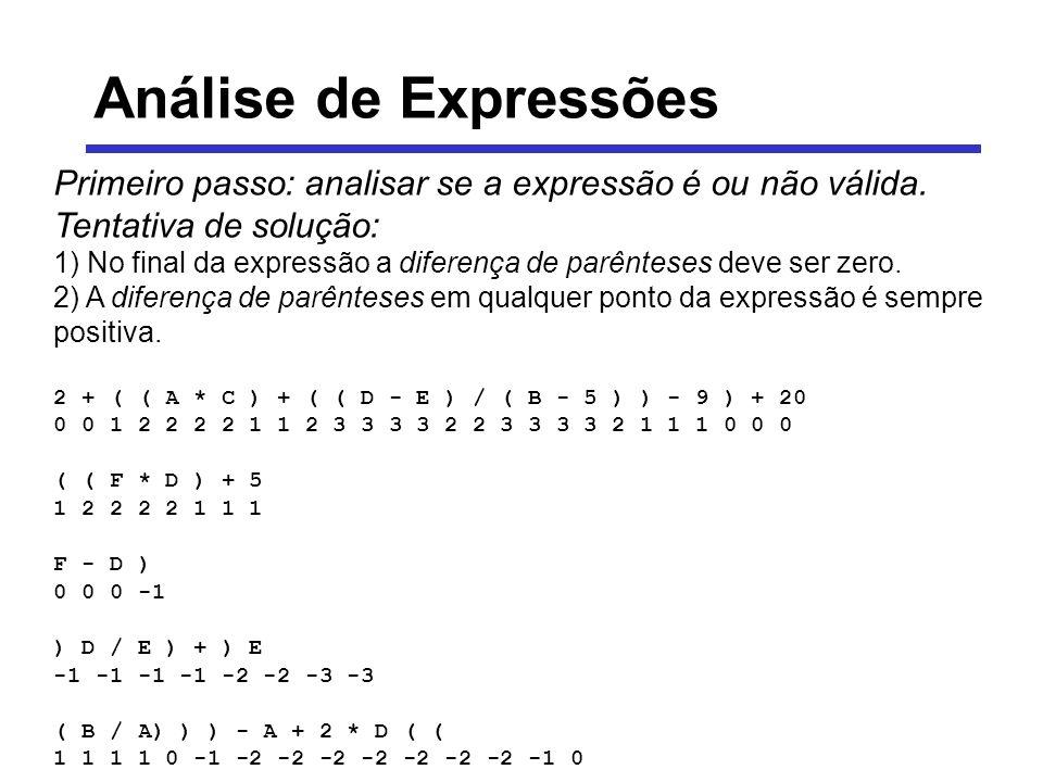 Análise de Expressões Primeiro passo: analisar se a expressão é ou não válida. Tentativa de solução: