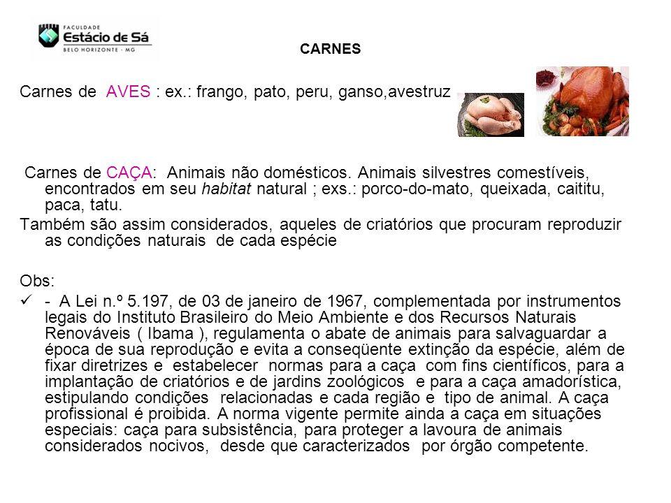 Carnes de AVES : ex.: frango, pato, peru, ganso,avestruz .