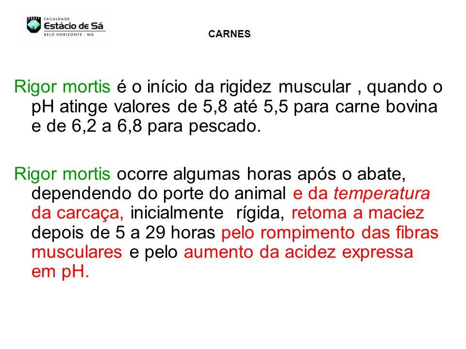 CARNES Rigor mortis é o início da rigidez muscular , quando o pH atinge valores de 5,8 até 5,5 para carne bovina e de 6,2 a 6,8 para pescado.