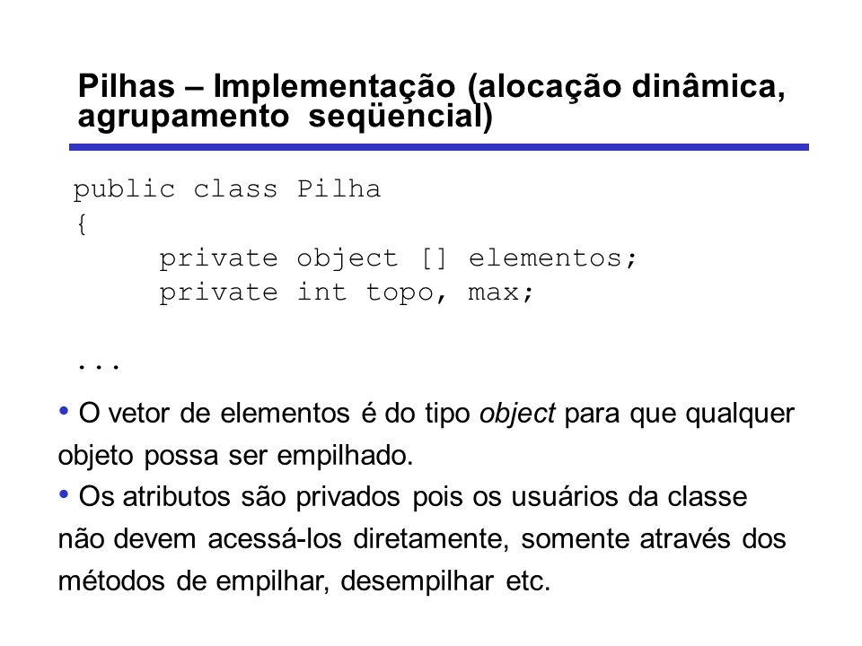 Pilhas – Implementação (alocação dinâmica, agrupamento seqüencial)