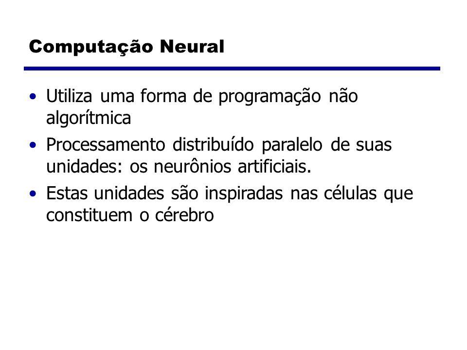 Computação Neural Utiliza uma forma de programação não algorítmica. Processamento distribuído paralelo de suas unidades: os neurônios artificiais.
