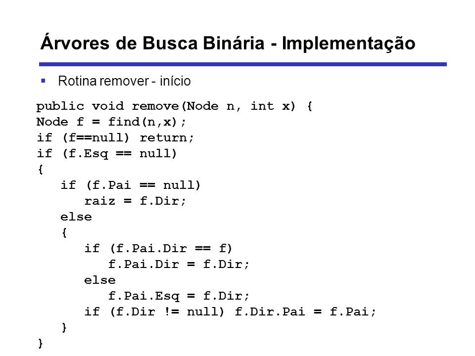 Árvores de Busca Binária - Implementação