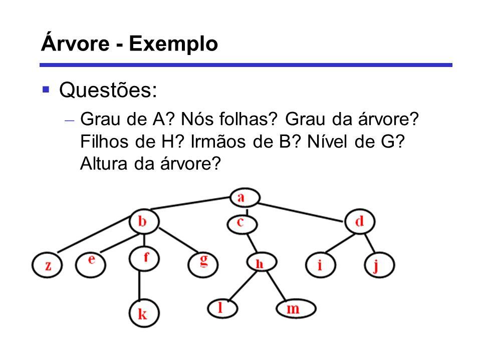 Árvore - Exemplo Questões: